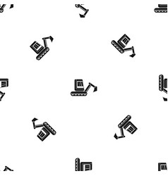 Mini excavator pattern seamless black vector