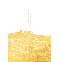ocean wave hand drawn line with gold texture vector image