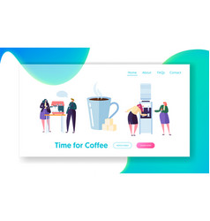 Office coffee break time landing page banner vector