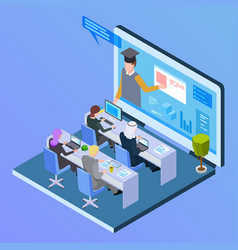 online international education isometric concept vector image