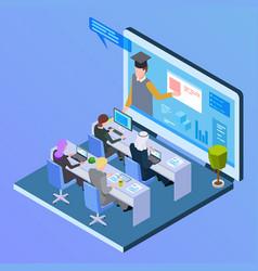 online international education isometric concept vector image