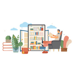 online library flat composition vector image