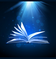 Open magic book on blue background fantasy light vector