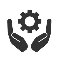 open palms with cogwheel glyph icon vector image
