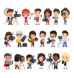 Photographers flat cartoon characters vector