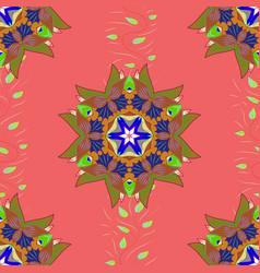 pink green and brown colors tiled mandala design vector image