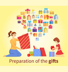 preparation gift present box for xmas vector image