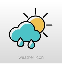 Rain cloud sun icon meteorology weather vector