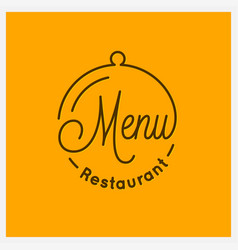 restaurant menu logo round linear tray cloche vector image