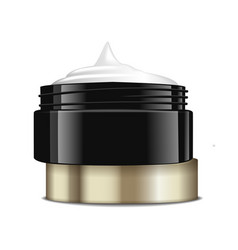 round black plastic jar with gold cap for vector image