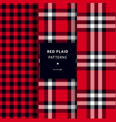 Scottish red plaid patterns vector