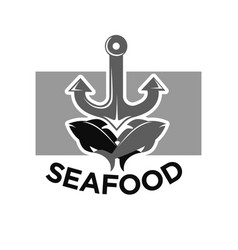 Seafood menu monochrome logotype with fishes and vector