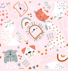 seamless childish pattern with cute animals vector image