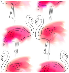 seamless pattern with outline pair flamingo vector image