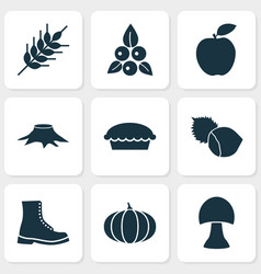 seasonal icons set with berries wheat boot and vector image