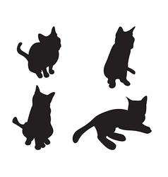 set cats silhouettes isolated on a white vector image