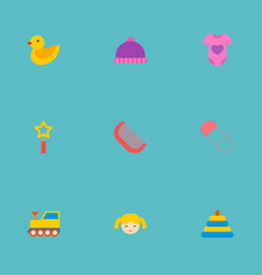 set of baby icons flat style symbols with doll vector image