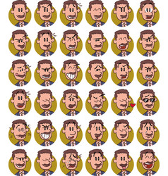 Set of businessman with mustache emojis vector