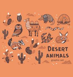 Set of desert animals vector