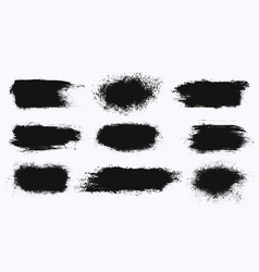 Set of different ink paint brush stroke banners vector