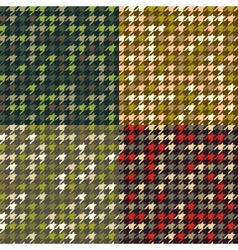 Set of houndstooth camouflage patterns vector