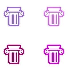 Set of paper stickers on white background greek vector