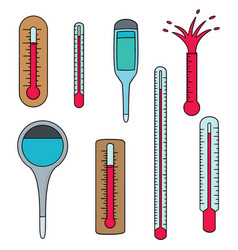 Set of thermometer vector
