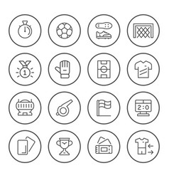 set round line icons of soccer vector image