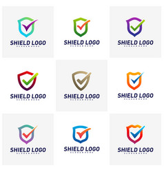 set shield check logo design concept shield vector image