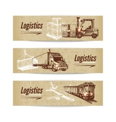Sketch logistics and delivery banner set vector image
