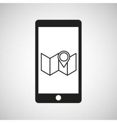 Smartphone e-commerce pin map graphic vector