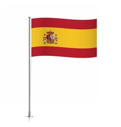 Spain flag waving on a metallic pole vector image