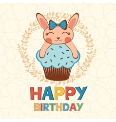 Stylish Happy birthday card with cute little vector image