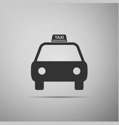 Taxi car icon isolated on grey background vector