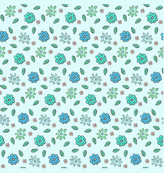 Tender blue naive hand drawn floral pattern vector