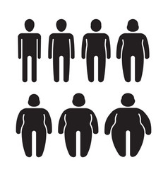 thin and fat stylized stick characters people vector image