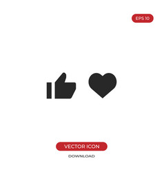 thumb up and heart icon like sign vector image