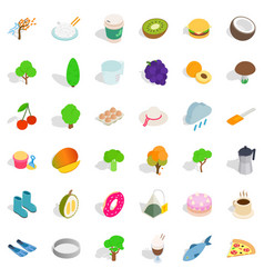 Vegetarian burger icons set isometric style vector