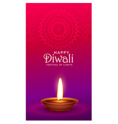 Vibrant happy diwali festival greeting with diya vector
