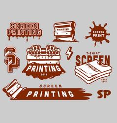 vintage screen printing elements set vector image