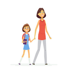 Walk to school- modern people characters vector