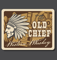 Wild west whiskey bar saloon western indian chief vector