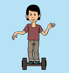 a teenager rides a scooter vector image vector image