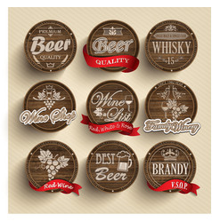 Casks with alcohol emblems vector image