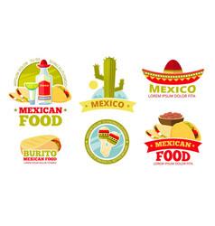 mexican salsa food restaurant badges vector image vector image