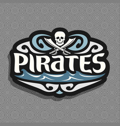 Pirate skull and cross bones logo vector