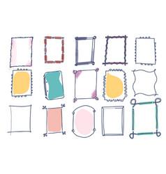 set of doodle frames on white background vector image vector image