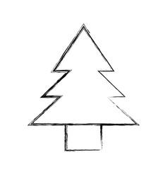 Sketch draw cute tree cartoon vector