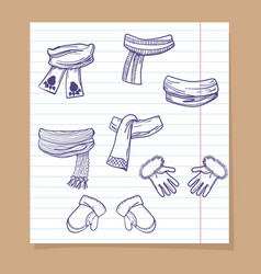 sketch of winter mittens and scarves vector image