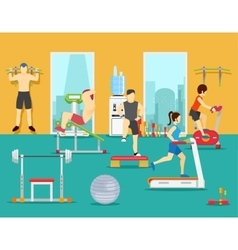 Training people in gym flat vector image vector image